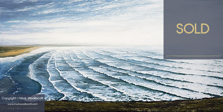 <i>A View of Saunton Beach and Waves</i><span>acrylic on canvas | Framed | Size: 12 x 24 inches</span>