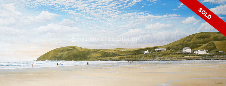 <i>Croyde and Baggy Point</i><span>acrylic on canvas | Size: 14 x 36 inches</span>