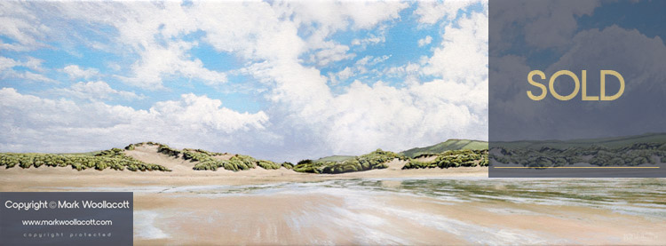 <i>Croyde Beach and Sand Dunes</i><span>acrylic on canvas | unframed | Size: 12 x 32 inches</span>