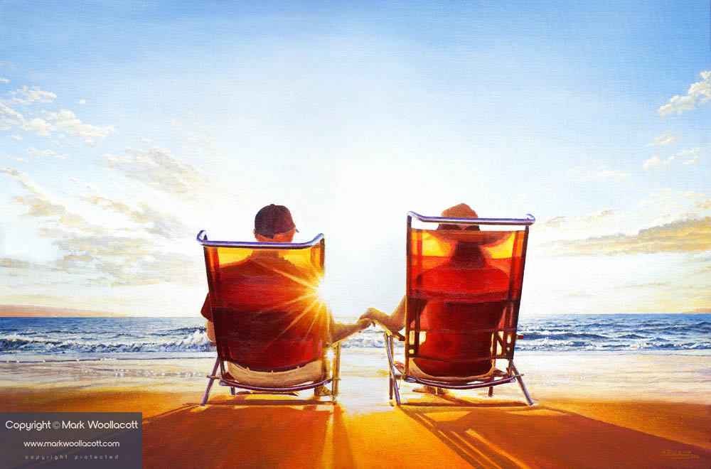 a painting of a Mature Couple in Deckchairs Watching a Sunset