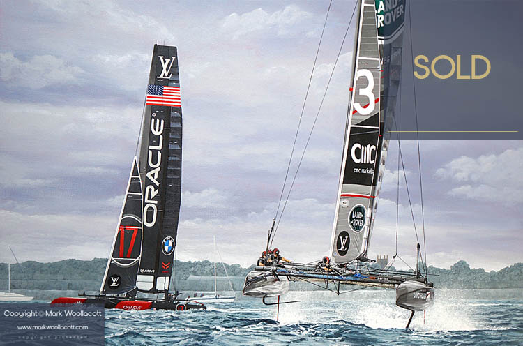 <i>Land Rover BAR and Oracle Team USA, Portsmouth 2016</i><span>acrylic on canvas | No frame | Size: 24 x 36 inches</span>