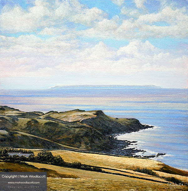 <i>Looking Toward Lundy Island and Lee Bay from Ilfracombe Coast Path</i><span>acrylic on deep-edge canvas | Size: 16 x 16 inches</span>