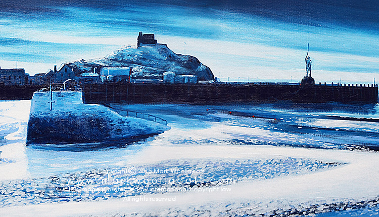 <i>Ilfracombe Harbour by Moonlight</i><span>acrylic on canvas | Size: 14 x 36 inches</span>